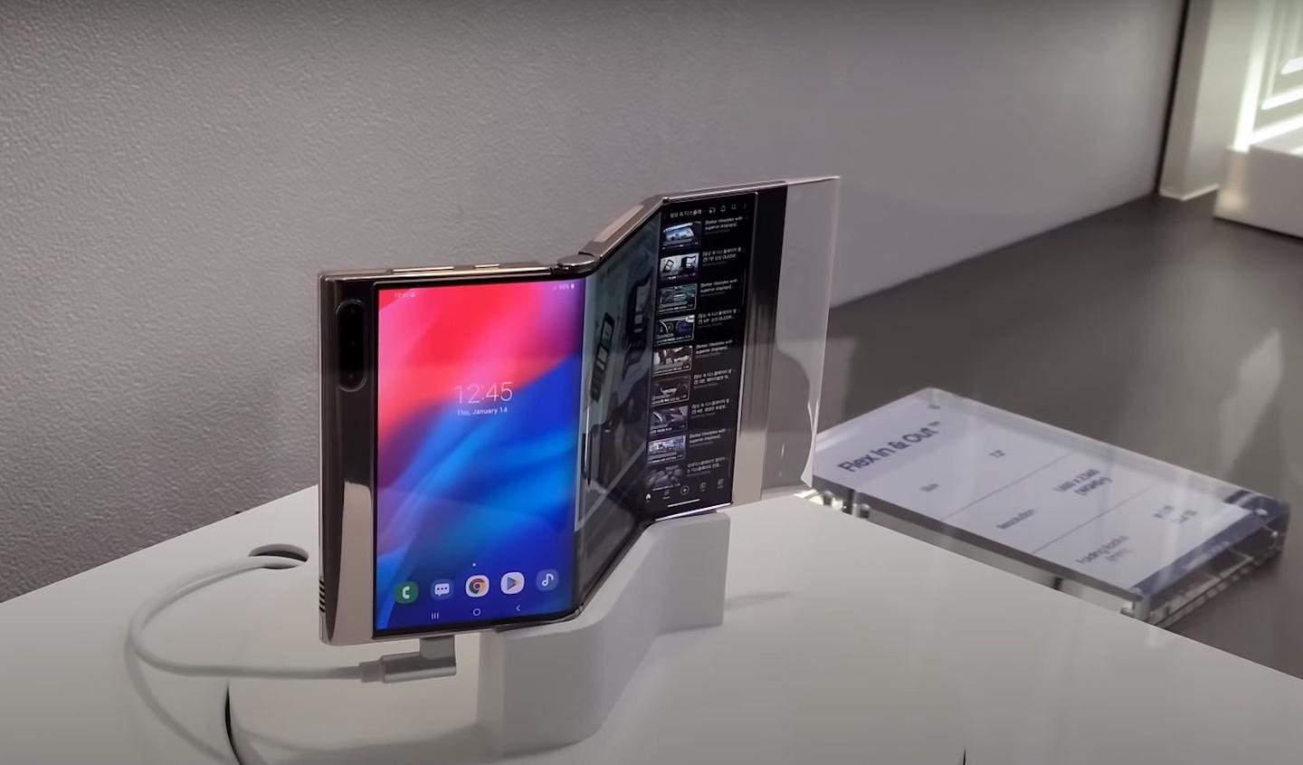 Though the video released by Samsung Display doesn't show the OLED panel folding in and out, it does show the screen powered on and running through demo screens