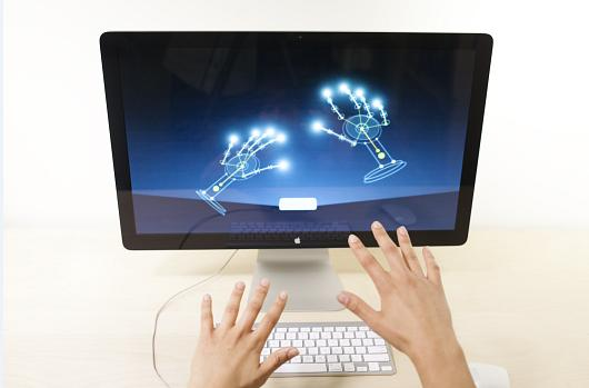The Leap Motion sensor works on Macs running OS X 10.7 or higher, and PCs with Windows 7 or higher