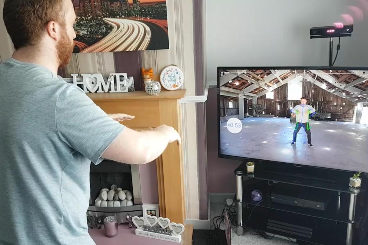 The Reactive Video playback system being used to teach Tai Chi