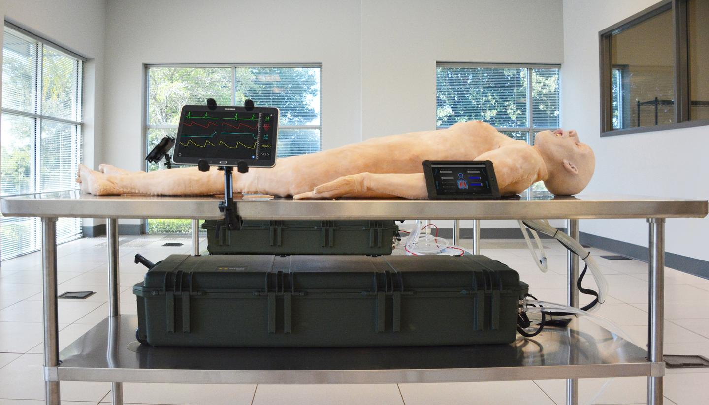 The SynDaver Patient features a tablet-controlled physiology engine