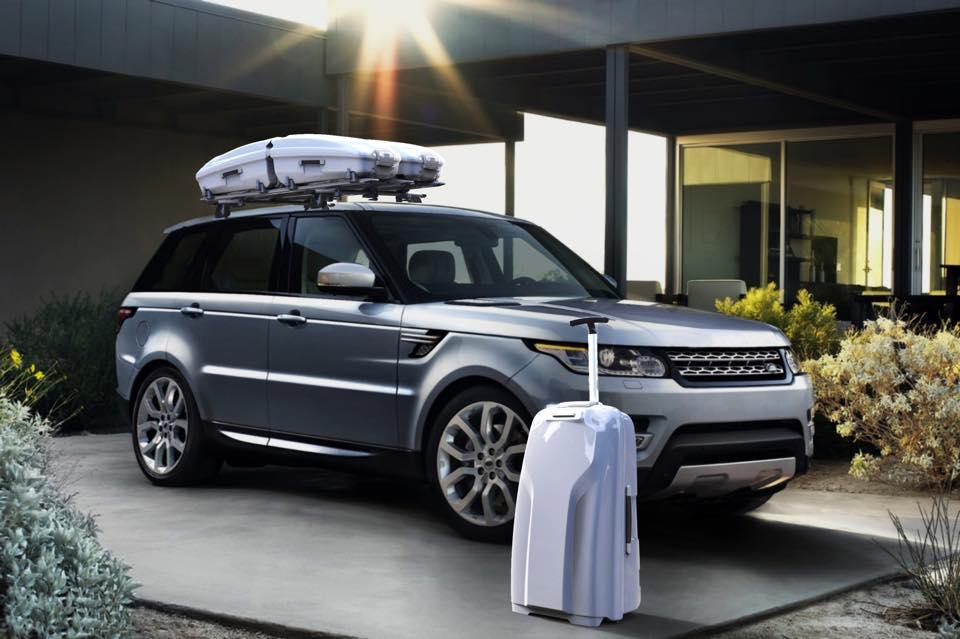 Lugga suitcases can be used on their own, or mounted and locked onto a custom roof rack