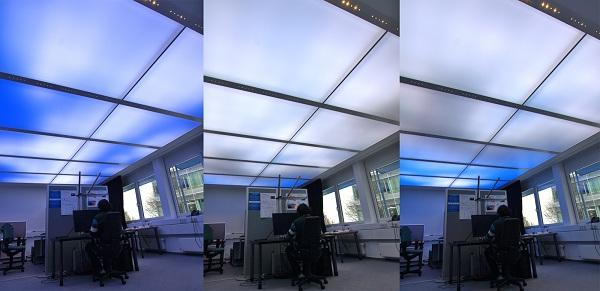 The dynamic luminous ceiling by Fraunhofer IAO recreates natural lighting conditions indoors (Photo: Fraunhofer IAO)
