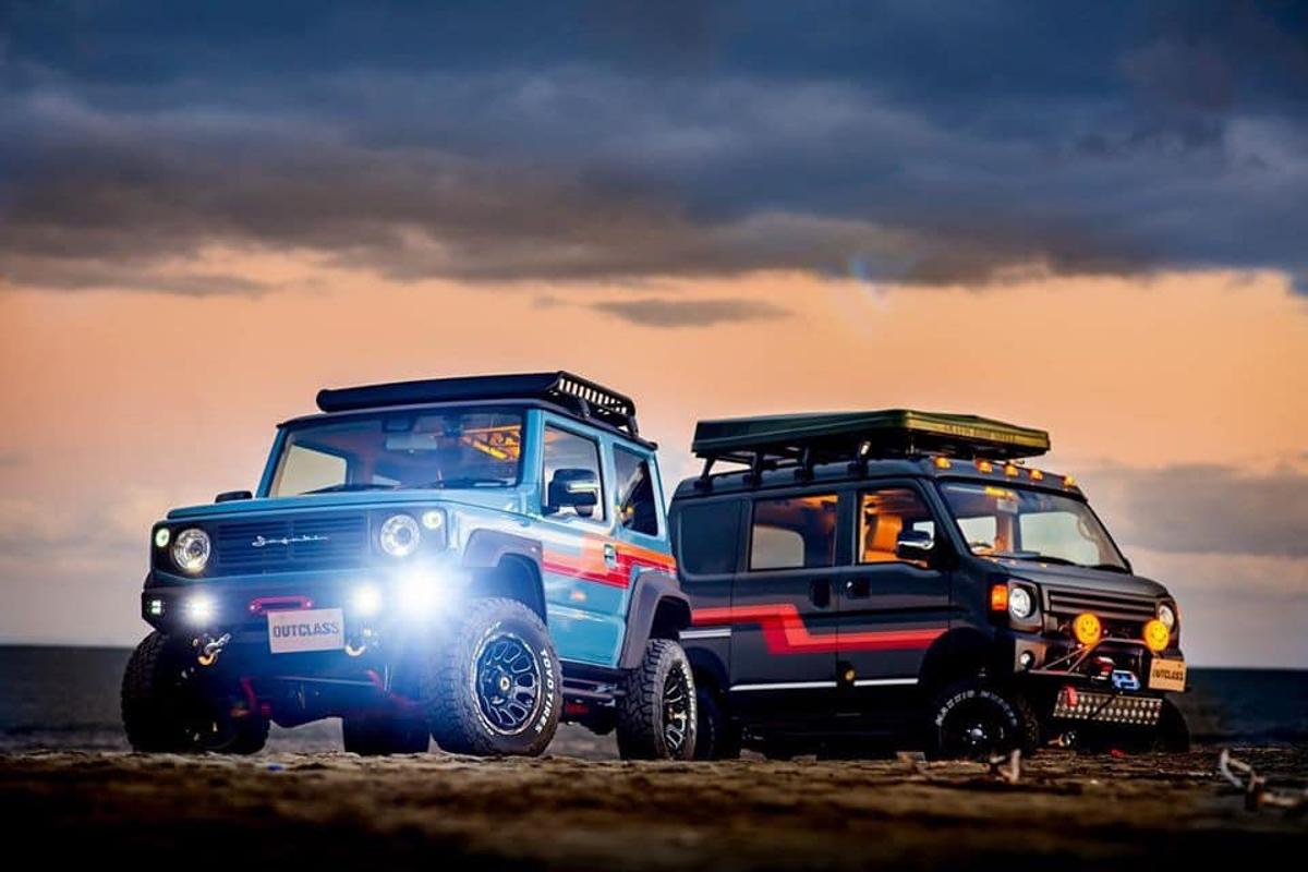 Outclass showed the Suzuki Every off-road camper van (right) alongside a retro-styled Jimny