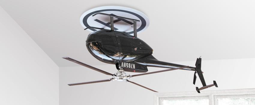 Upside Down is a ceiling fan by Raffaele Iannello that takes the form of a 1:6 scale model of a Hughes/MD 500 helicopter