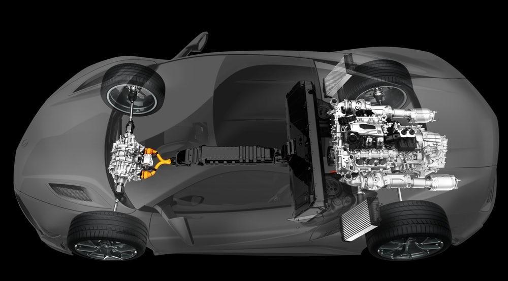 The hybrid powertrain in theHonda NSX