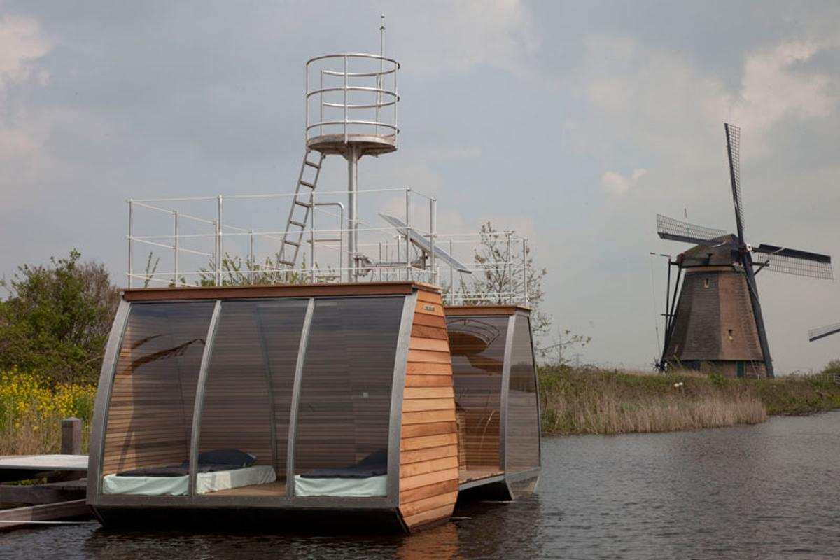 This tiny cabin is a free-floating catamaran suite designed by Dutch architect, Marijn Beije