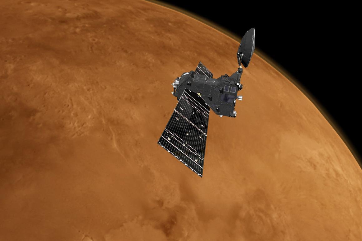 Artist's impression of the Trace Gas Orbiter around Mars