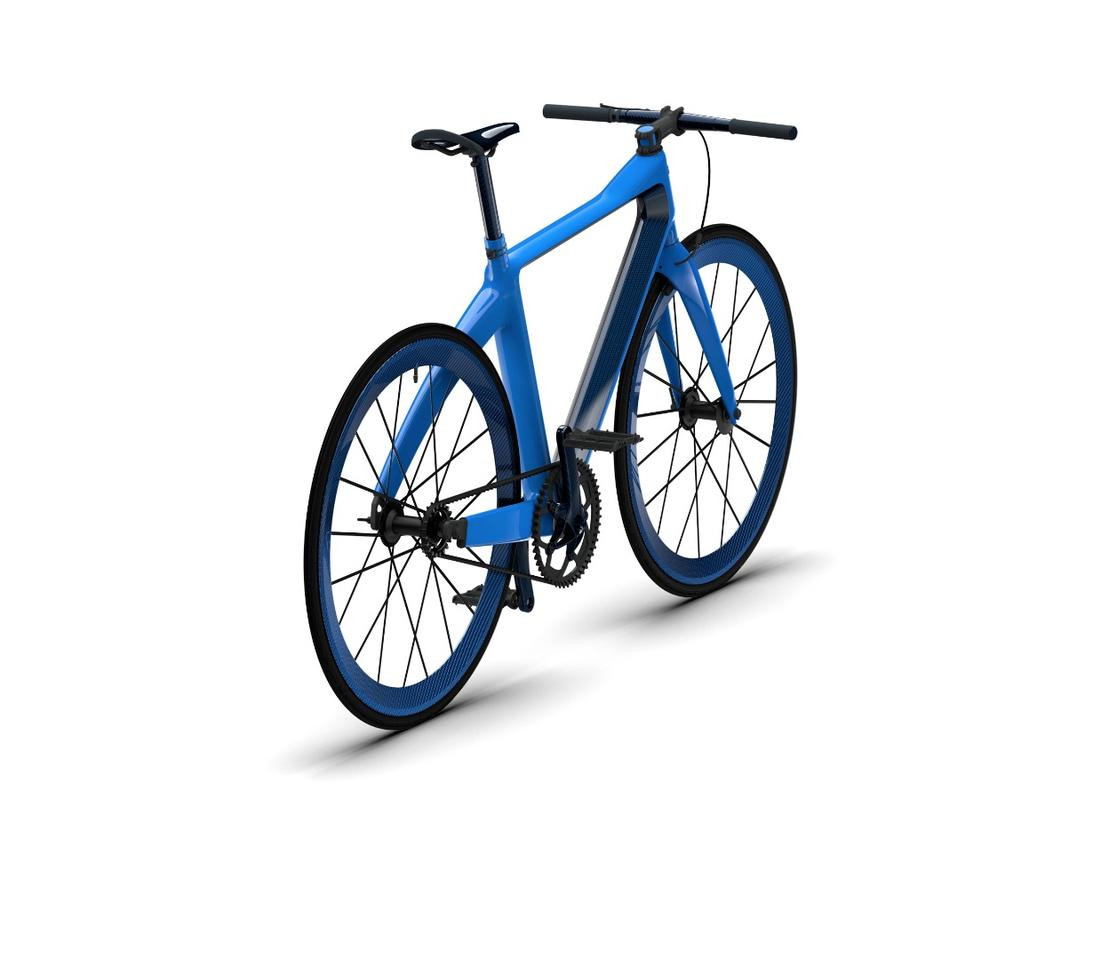 The PGBugatti Bike, finished in the headline color scheme of the Chiron