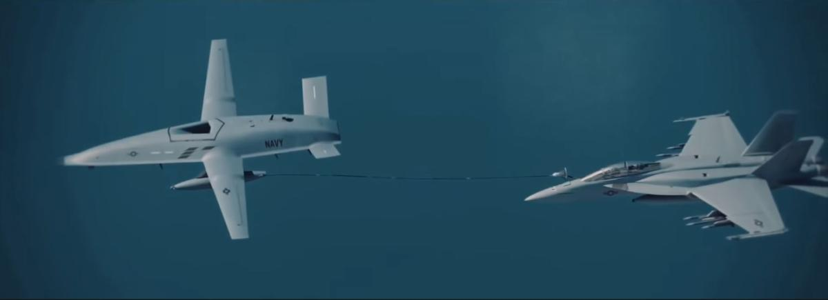 Artist's rendering of the MQ-25 (left) in operation