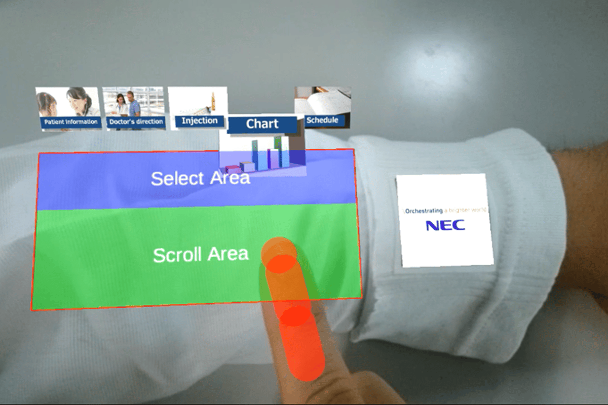 NEC'sARmKeypad Airprojects a virtual interface onto the forearmarm and registersinput without the need to touch anything