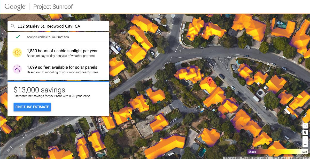 Project Sunroof uses data from Google Maps to offer a personalized analysis of a roof's solar potential