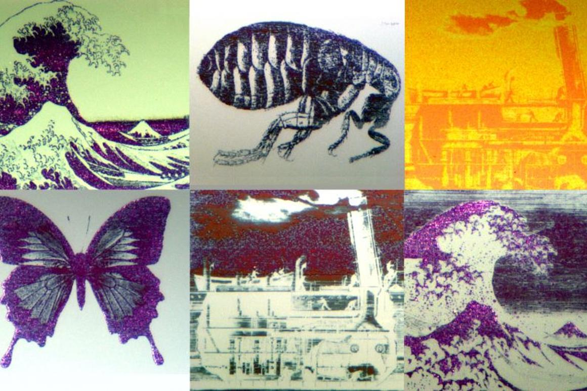 "Still images drawn with the ""nano-pixel"" technology that each measure around 70 micrometres across, which is smaller than the width of a human hair (Photo: Oxford University)"