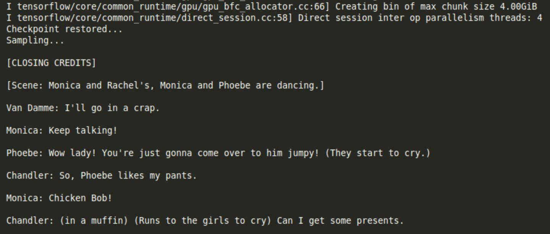 A scene from a machine-generated script for Friends