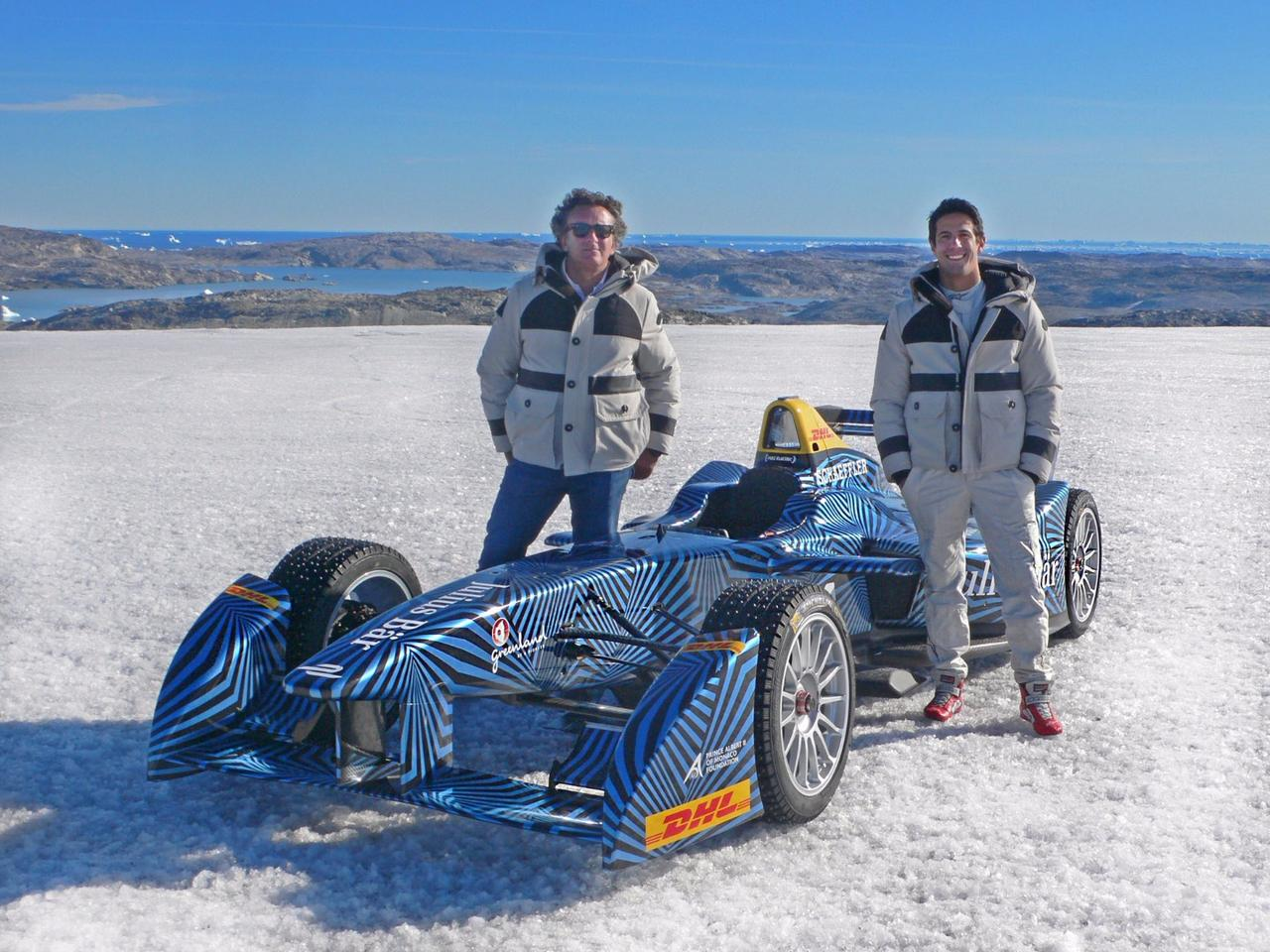 Lucas Di Grassi and Alejandro Agag on the ice cap