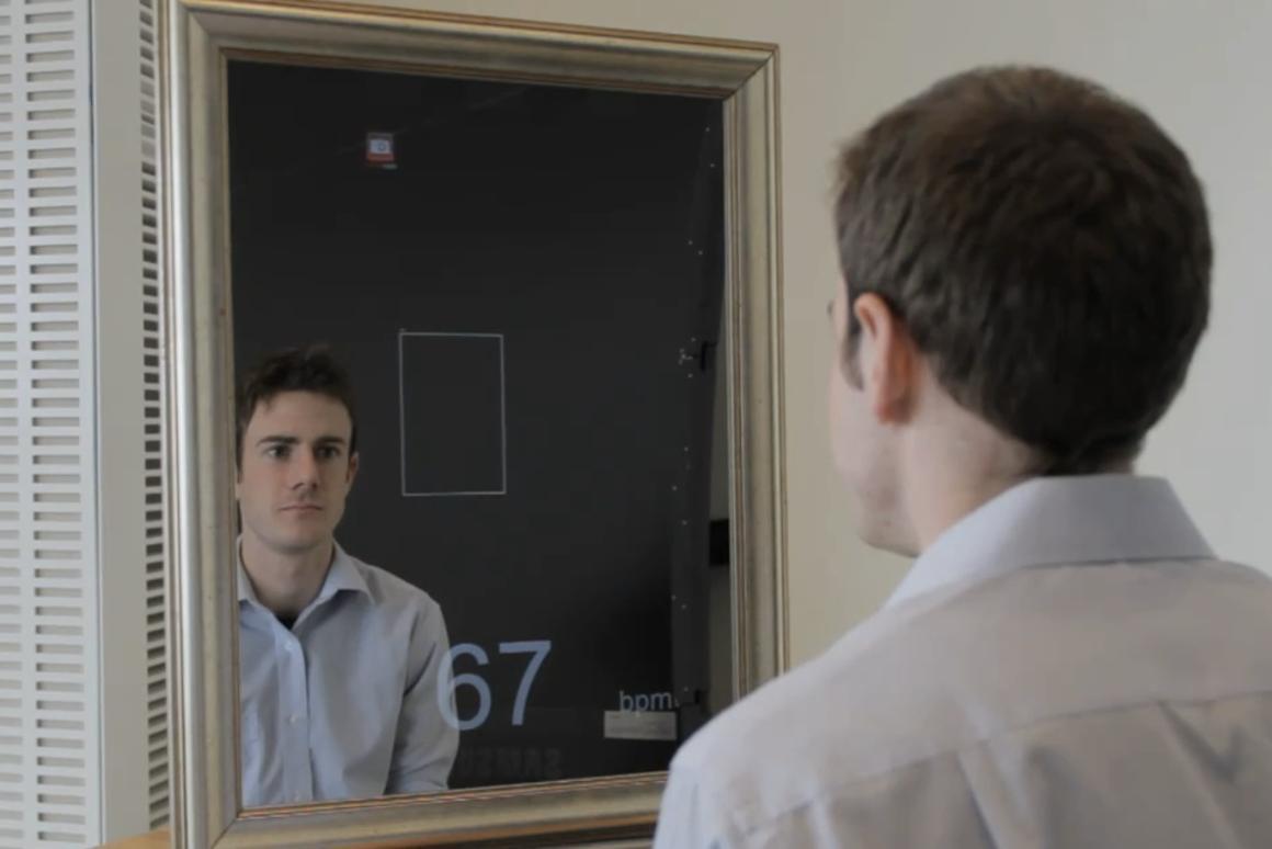 MIT's health monitoring mirror (Credit: Melanie Gonick)