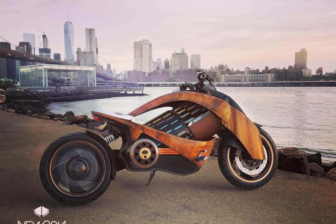 Newron's curved-wood electric motorcycle design goes way out