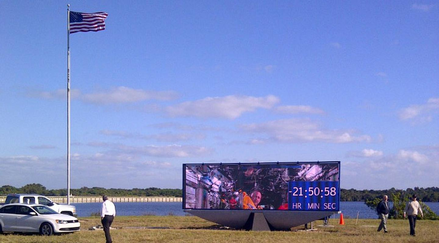 The new digital LED display has video displays as well as numbers (Photo: NASA)