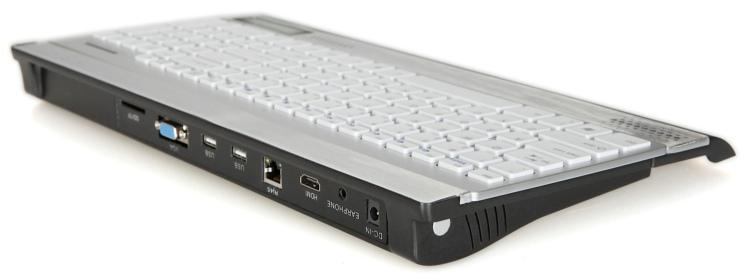 The CoolShip desktop computer has two USB 2.0 ports, 3.5-mm audio in and out, an SD card slot, Ethernet LAN, and 802.11b/g/n Wi-Fi technology