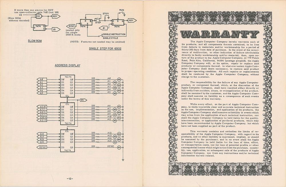 The last spread within the manual, showing one of the wiring diagrams as well as the warranty certificate page