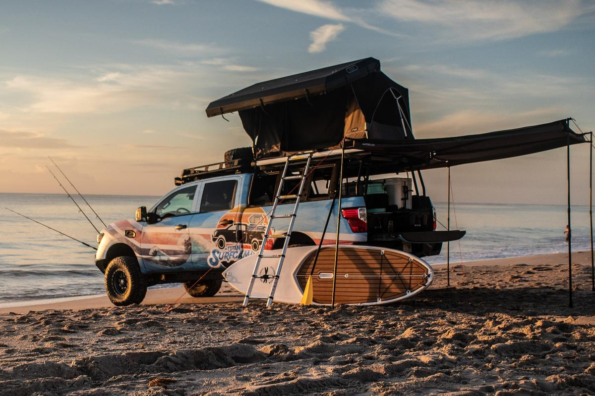 Sleeping on the beach with the Nissan Titan Surfcamp