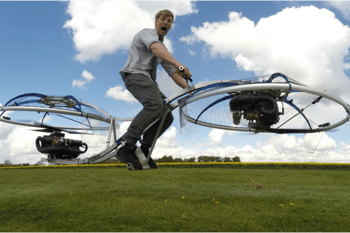 Colin Furze has created a homemade hoverbike, and managed to avoid serious injury in the process