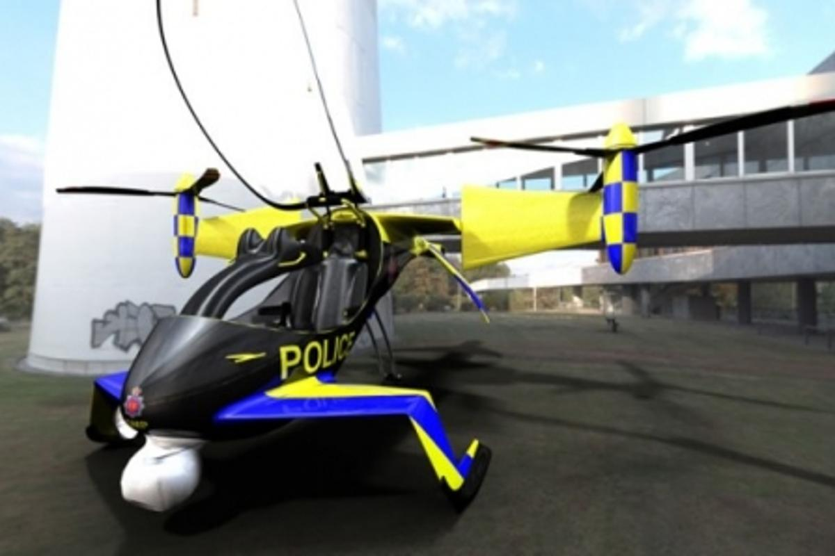 The falx hybrid-electric tilt-rotor concept in police trim.
