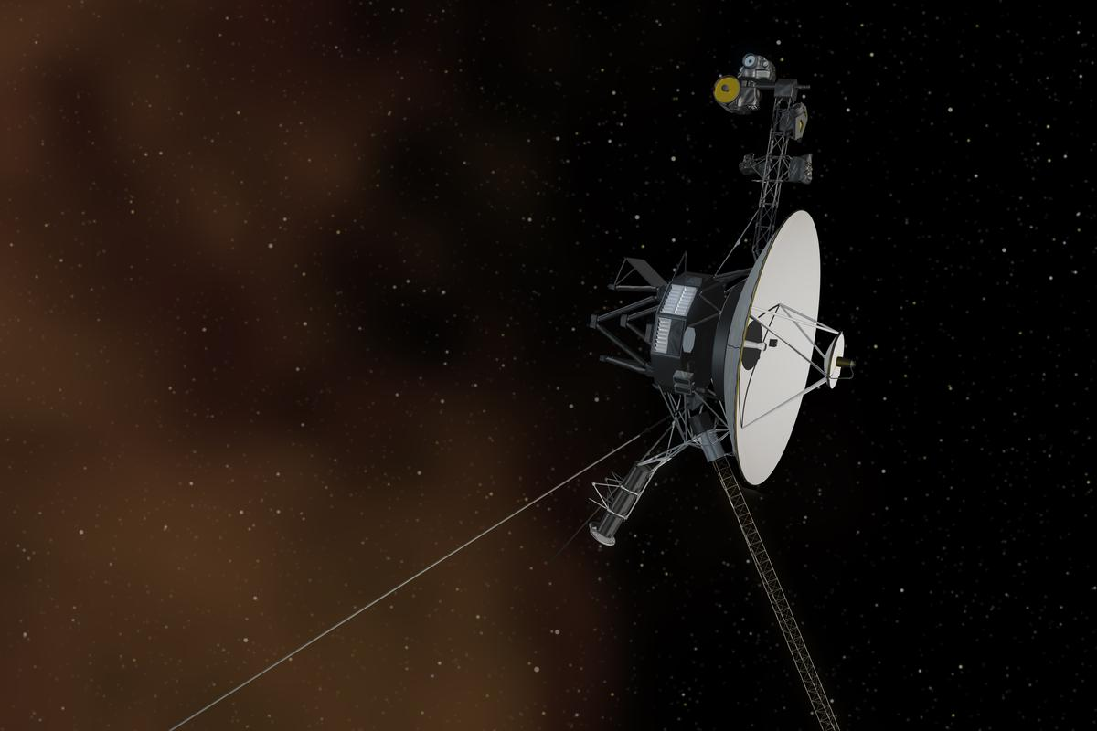 Artist's impression of Voyager 1 leaving the Solar System with the plasma layer represented as a brown cloud (Image: NASA/JPL-Caltech)
