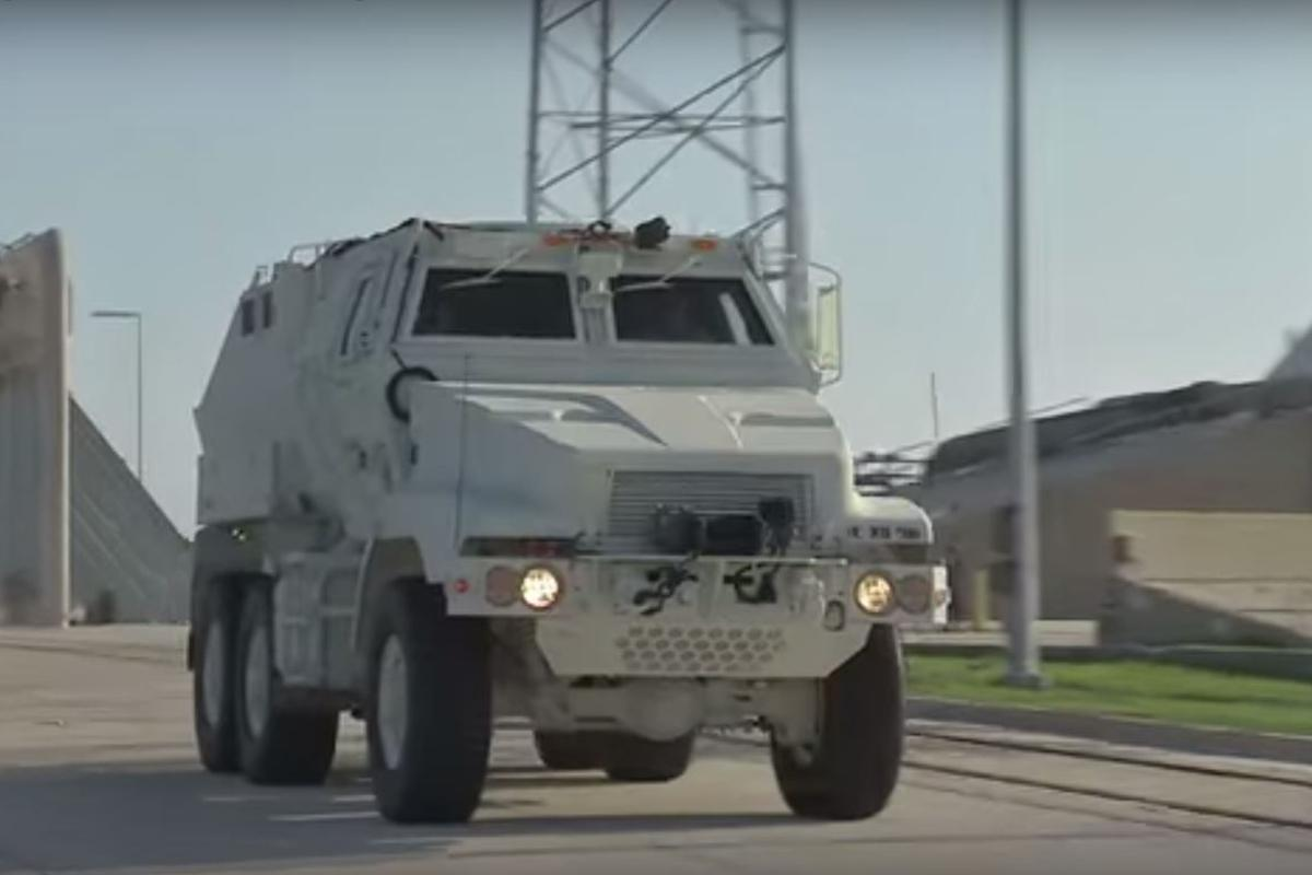 The MRAP will be used to evacuate astronauts and ground crew in the event of a launch emergency