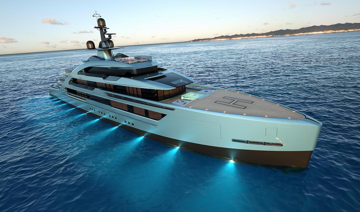 The Tankoa S702 Next 70 superyacht, with its near-vertical bow