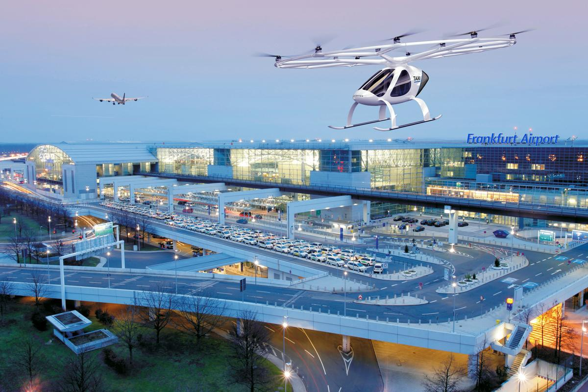Render of a Volocopter flying taxi over Frankfurt Airport