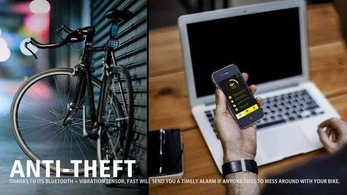 A motion sensor detects vibration and will send an alert to your phone when someone is tinkering with your bike