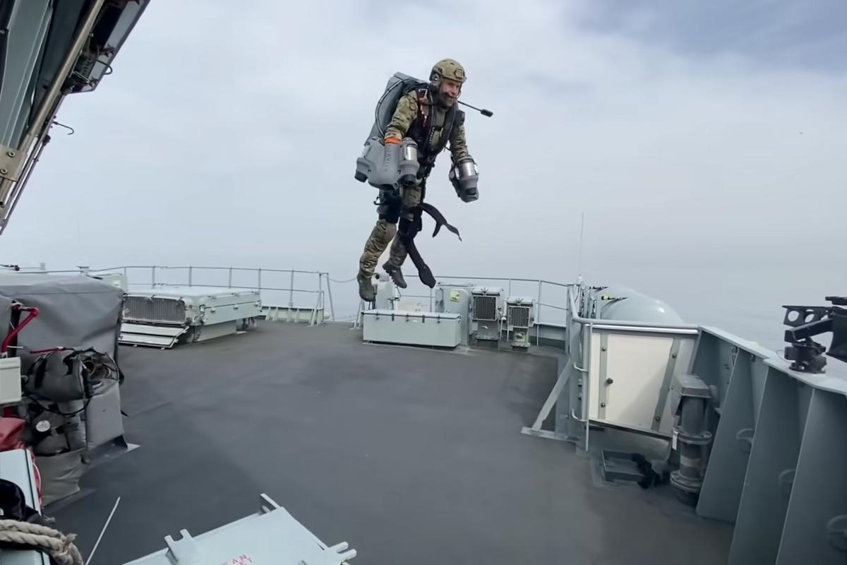 Jet suit pilot in flight