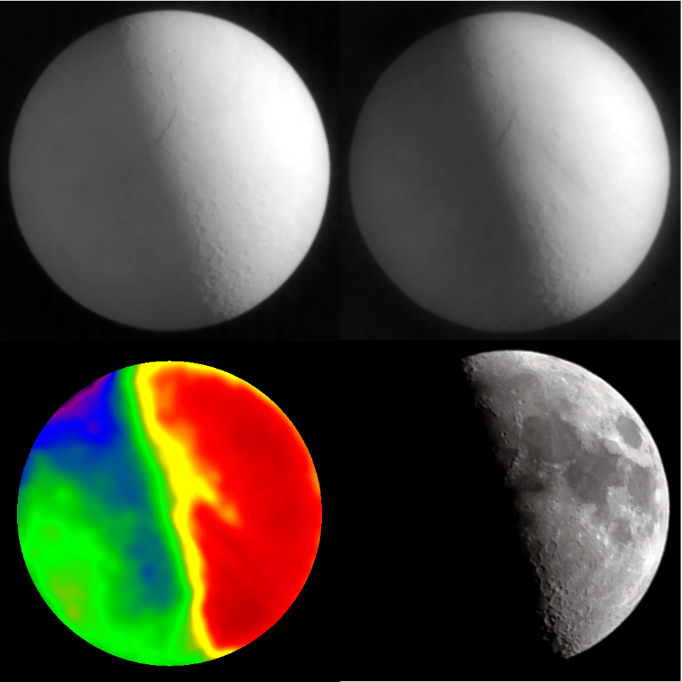 The Moon observed using SCUBA-2, at wavelengths of 0.45 mm (top left) and 0.85 mm (top right), while the bottom left shows a combination of the SCUBA-2 images which give the temperature of the lunar surface, where red is warmest and the lower right shows a visible light image (Photo: University of British Columbia, Mike Kozubal)