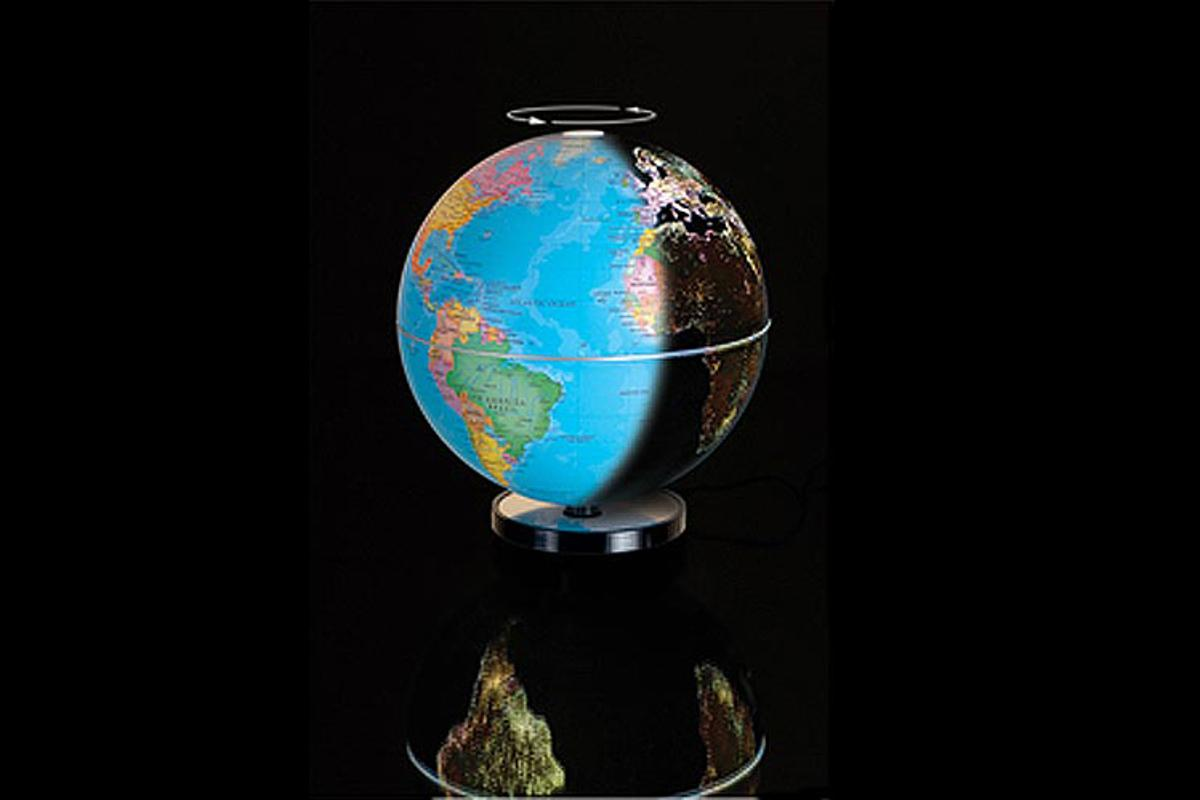 The City Light Globe shows both Earth during the day and the world's city lights at night