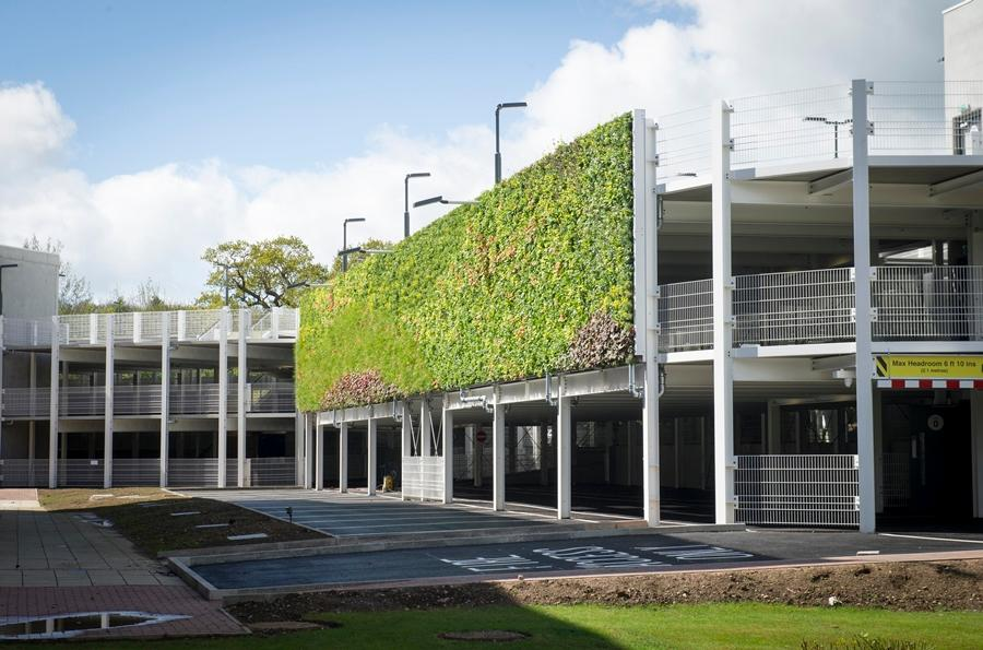 The new living wall at the UK's National Grid HQ clads a recently built 446-space multi-story car park