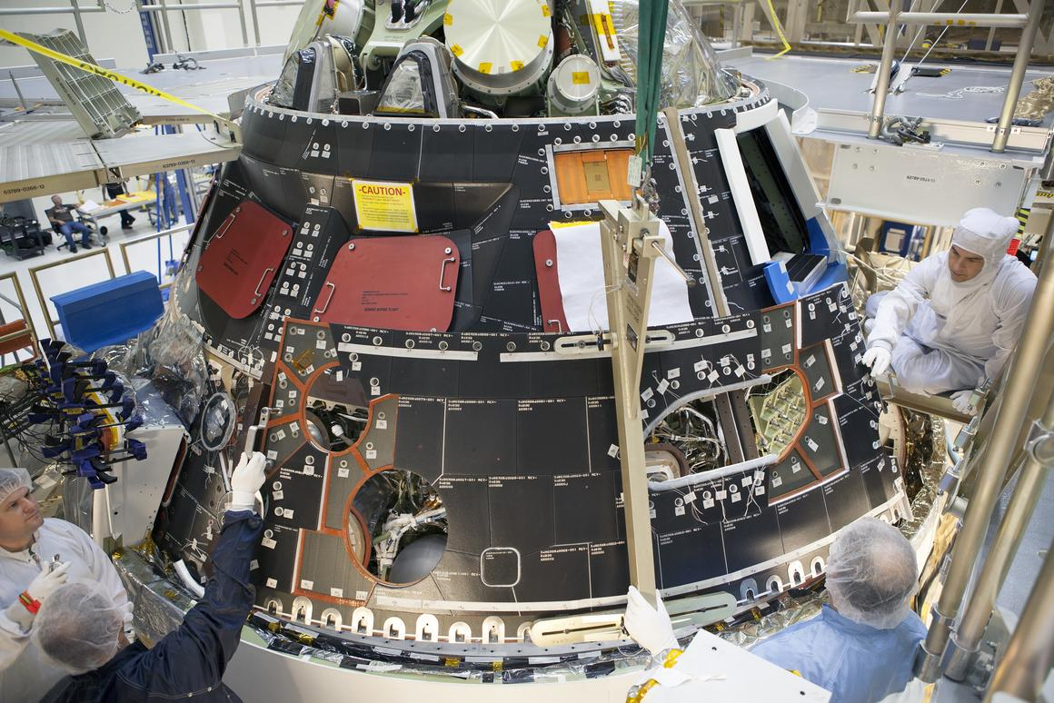 The Orion capsule getting ready to receive its skin prior to fueling (Image: NASA/Dimitri Gerondidakis)