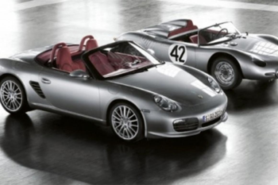 The new Porsche Boxter RS 60 Spyder beside the Type 718 RS 60 racecar of 1960.