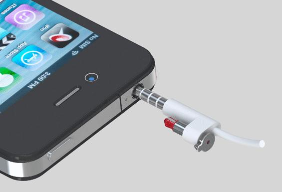 iPin clips to your headphone cable when not in use