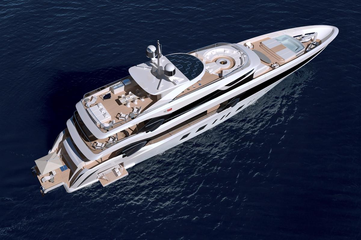 Features of theBenetti Fisker 50include a hot tub, space for a tender and PWCs, a fireplace that doubles as an ice chest, solar panels and plenty of space to relax