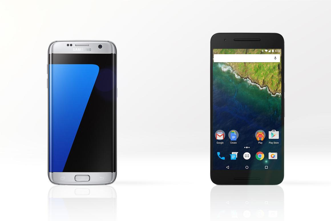 Gizmag compares the features and specs of the Samsung Galaxy S7 edge (left) and Huawei/Google Nexus 6P
