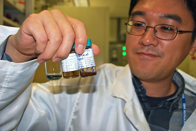 IBM researcher Hongsik Park observes different solutions of carbon nanotubes