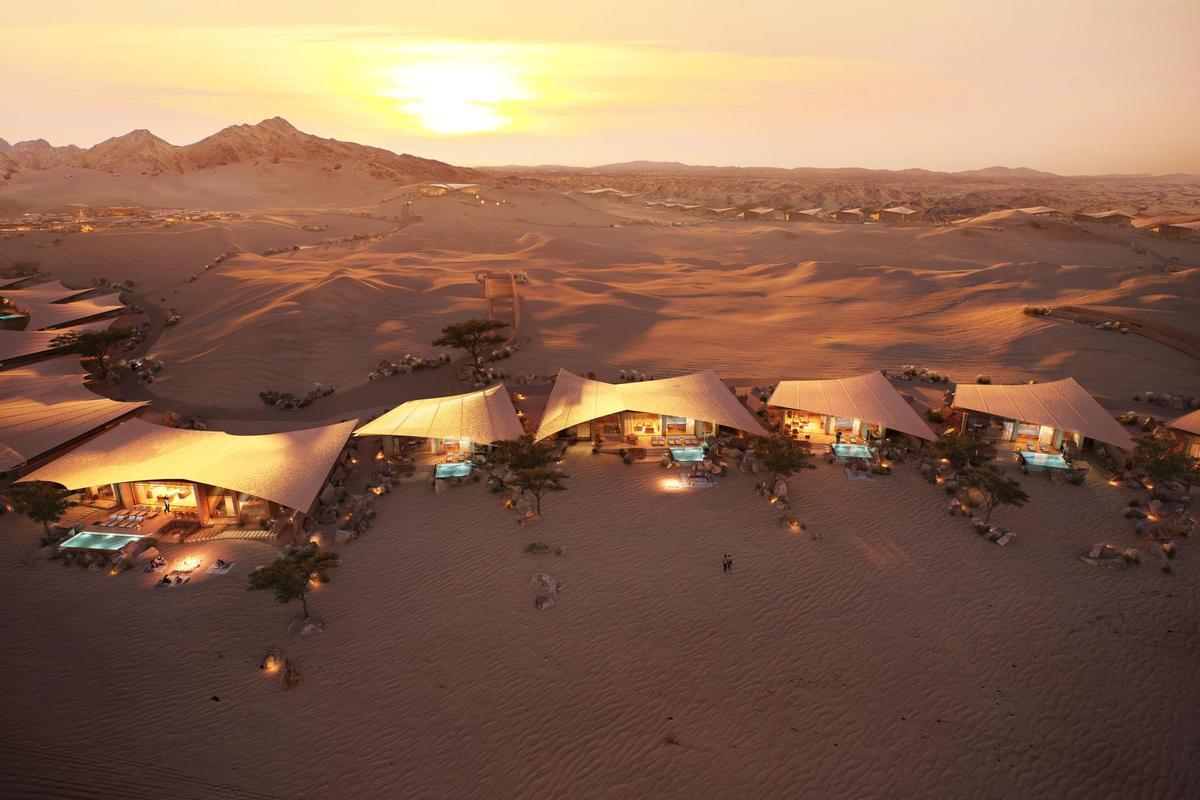 Southern Dunes는 사우디 아라비아의 모래 위에 펼쳐진 40 개의 호텔 빌라로 구성됩니다.