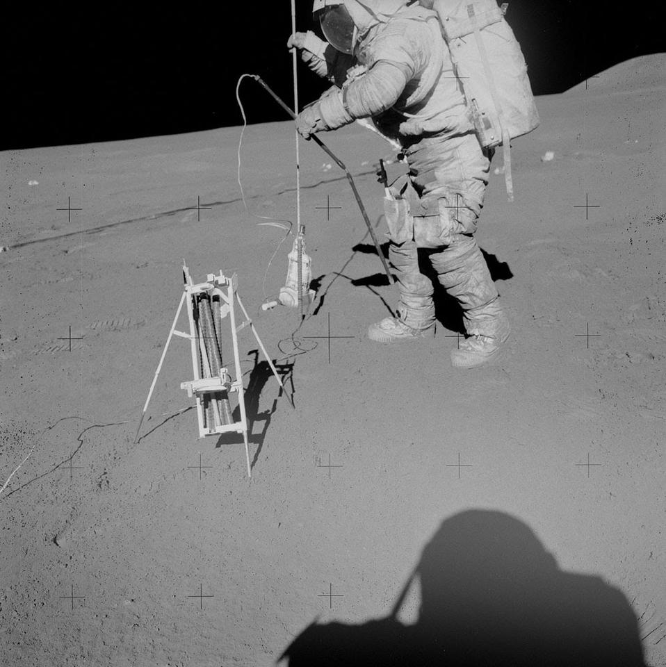 The drill assembly on the Moon
