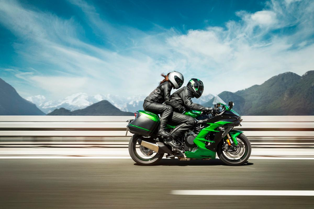 The 2018 Kawasaki H2 SX in two-up action