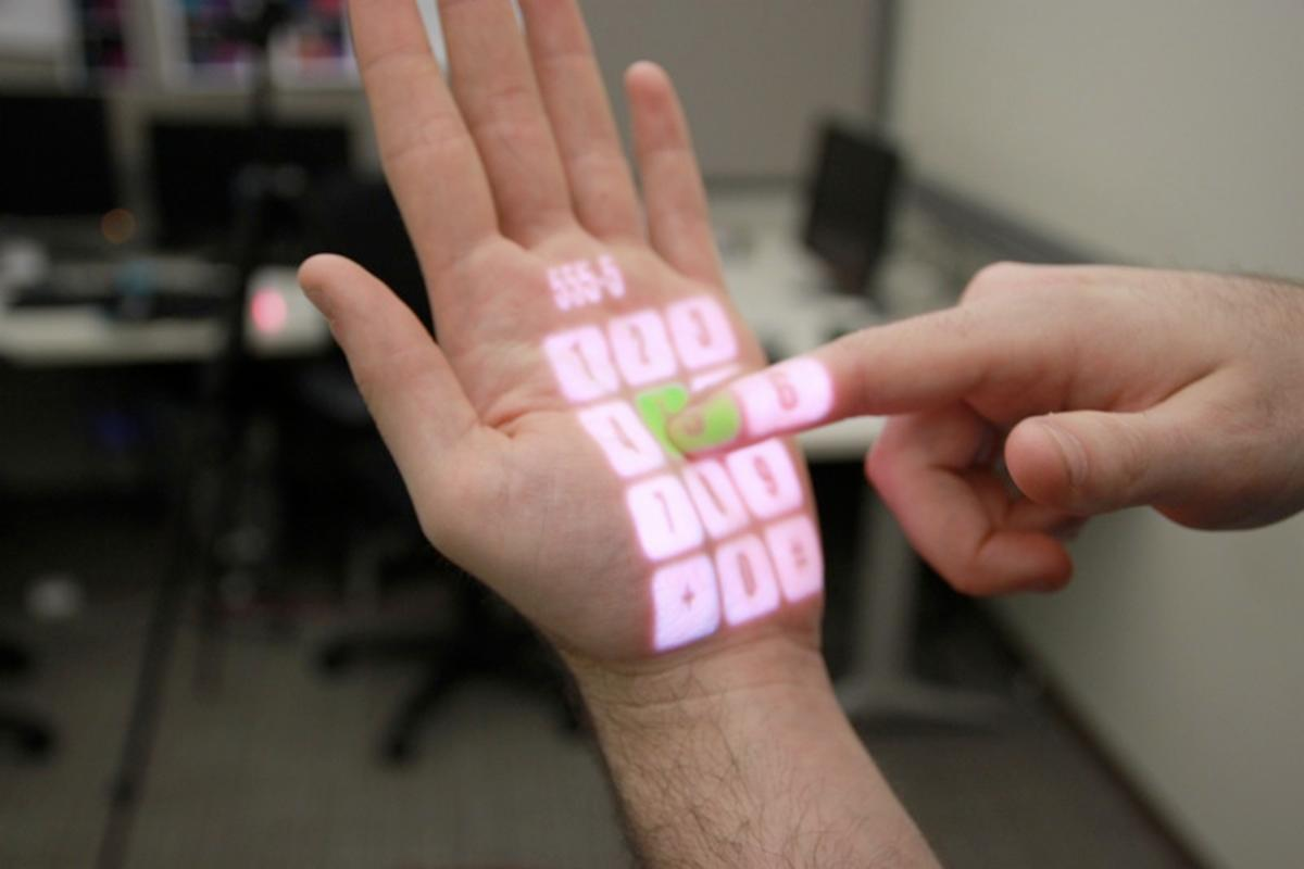 OmniTouch displays interface on user's hand