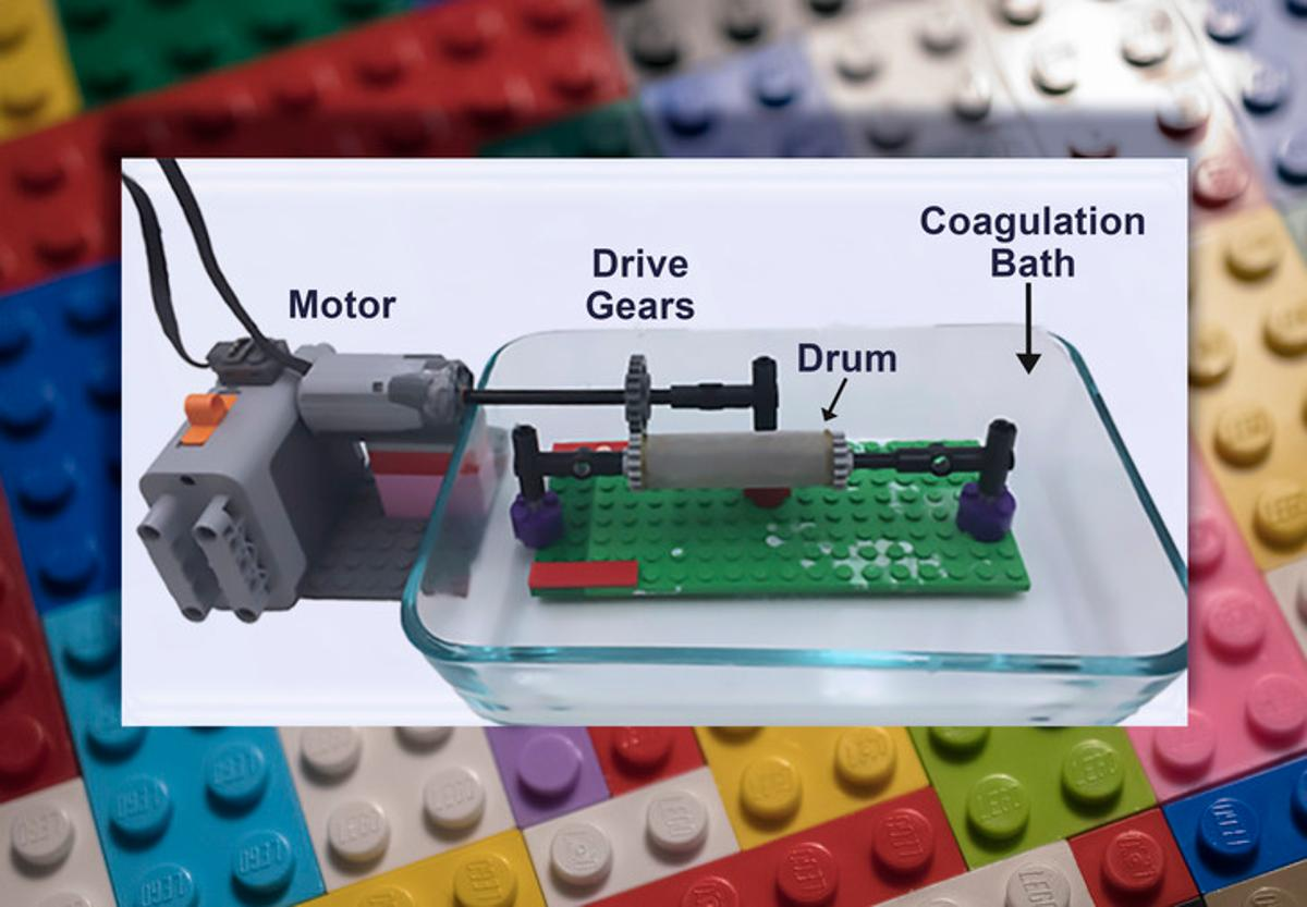 Researchers have used Lego to build a device that spins starch fibers as supports for lab-grown steaks