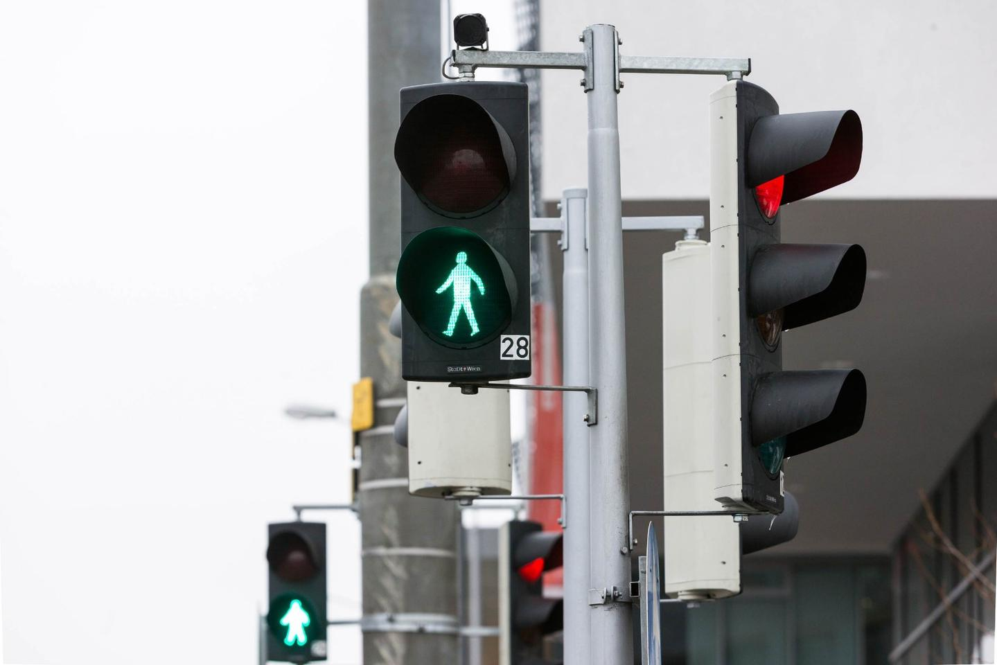 The system incorporates a camera mounted above the crossing light