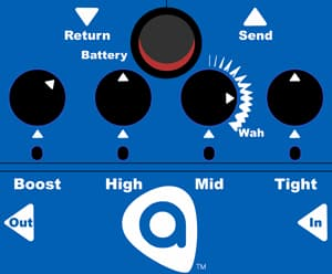 A rendering showing the control interface of the new TightBoost effects pedal from Amptweaker