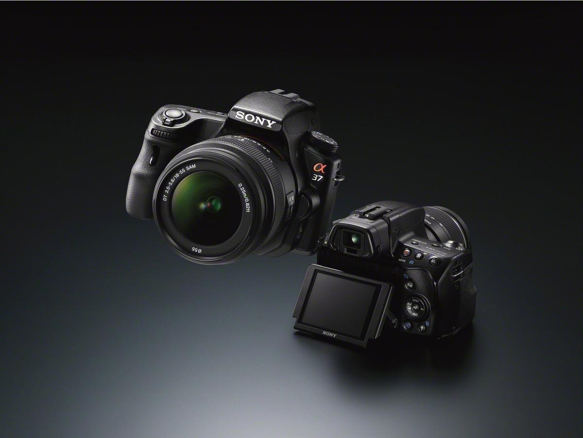Sony has detailed the new 16.1 megapixel SLT-A37 translucent mirror camera with a new tilting LCD panel, better resolution EVF and the latest 16.1 megapixel Exmor APS HD CMOS sensor