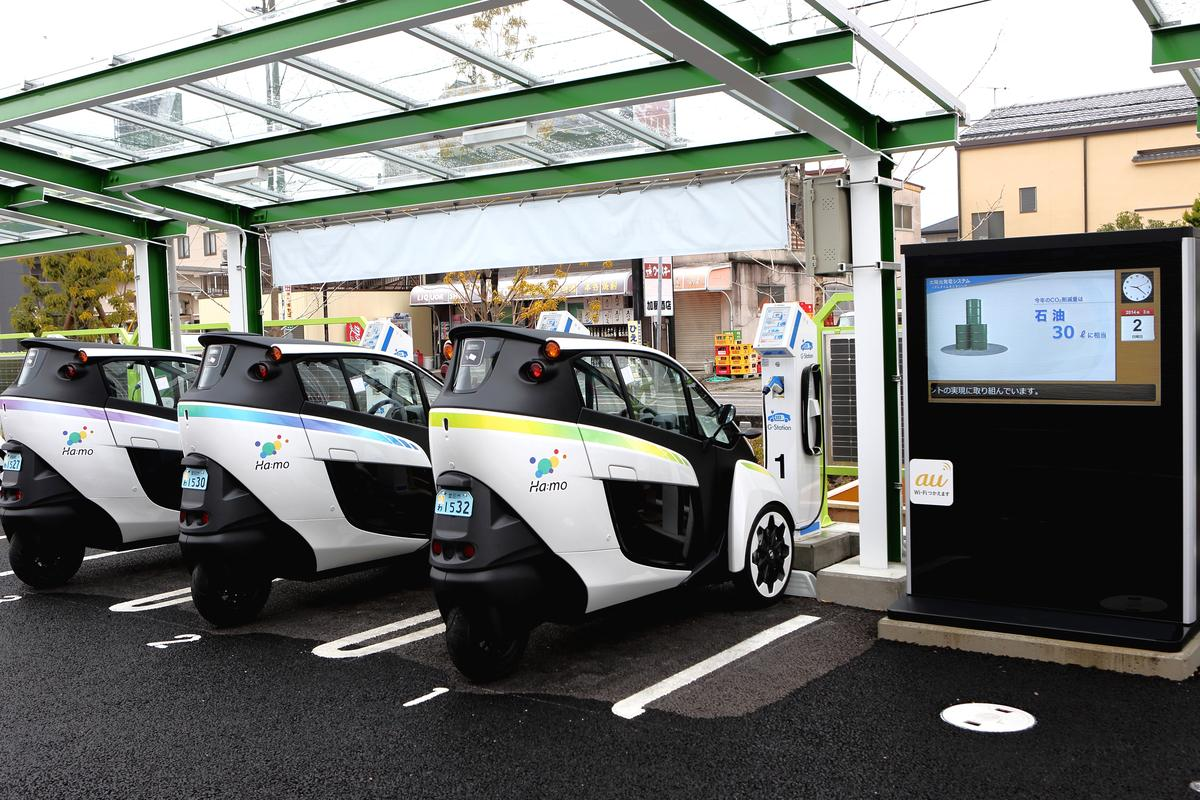 The Toyota i-Road in use at the Ha:mo (Harmonious Mobility) vehicle-sharing project in Japan